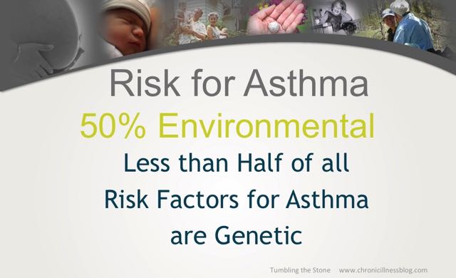 Risk factors for asthma include genetics but half of the risk involves environmental factors. These include events occuring during pregnancy, birth and in the first few years of life.