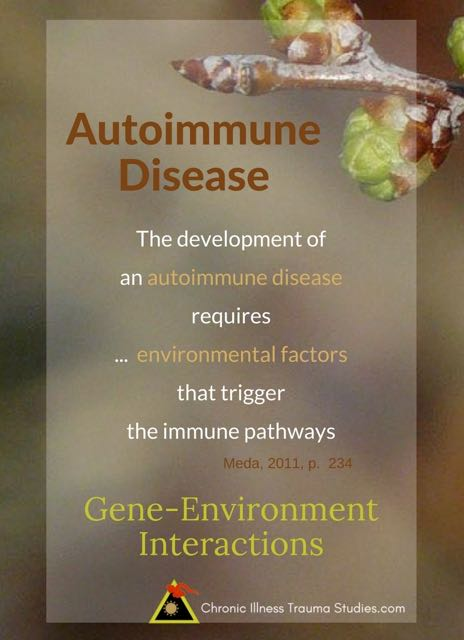 The development of autoimmune disease requires environmental factors (non-genetic) that trigger the immune pathways (Meda, 2011 p. 234) RA, T1D, JIA