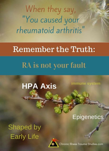 """When they say you caused your rheumatoid arthritis""... Remember the truth: RA is not your fault."