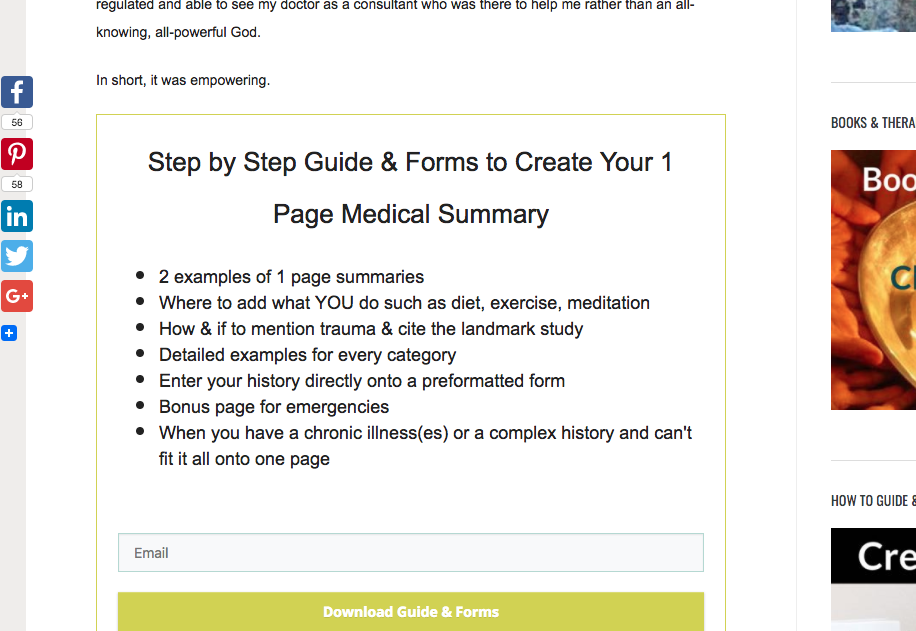 Download Form for 1 Page Summary